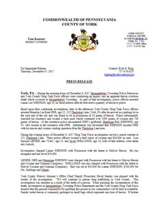 Press Release - DTF (DDRD-Springettsbury Drug Bust)