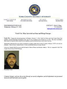 Press Release Gun & Drug Bust 2 7 18