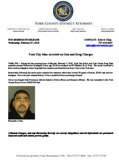 York City Man Arrested on Gun and Drug Charges - February 7, 2018