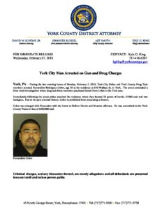York City Man Arrested on Gun and Drug Charges – February 7, 2018