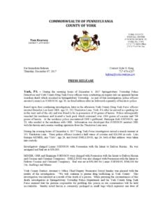 Press Release – DTF (DDRD-Springettsbury Drug Bust)