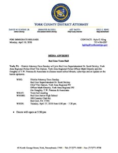 Media Advisory – Red Lion Town Hall