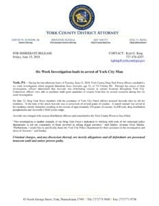 Six Week Investigation leads to arrest of York City Man