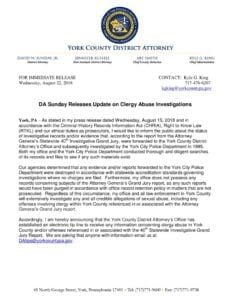 DA Sunday Releases Update on Clergy Abuse Investigations