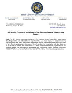 DA Sunday Comments on Release of the Attorney General's Grand Jury Report