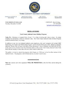 Media Advisory - York County Judicial Center Holiday Program