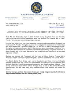 Month Long Investigation Leads To Arrest of York City Man