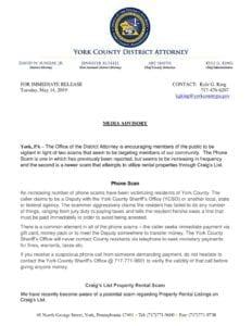 Scams Media Advisory