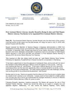 First Assistant District Attorney Jennifer Russell to Resign In July and Chief Deputy District Attorney Tim Barker to be Appointed First Assistant District Attorney