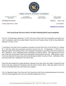 York County Drug Task Force Arrests Two Men Following Month Long Investigation