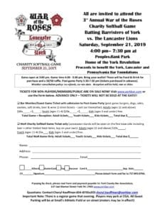 3rd Annual War of the Roses Charity Softball Game