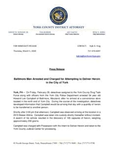 Baltimore Man Arrested and Charged for Attempting to Deliver Heroin in the City of York