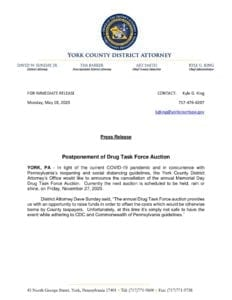 Postponement of Drug Task Force Auction
