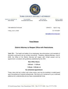 District Attorney to Reopen Office with Restrictions