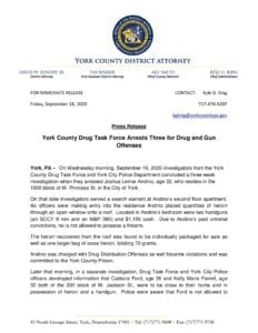 York County Drug Task Force Arrests Three for Drug and Gun Offenses